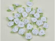 Szatén rózsafejek  fehér 25db/csomag