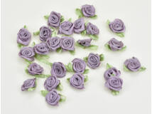Szatén rózsafejek  mályva 25db/csomag