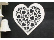 Fa áttört szív fehér 70cm