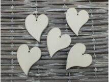 Fa francia szív fehér 4,5cm 5db/csomag