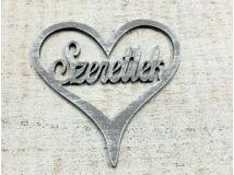 Fa - Szeretlek szívben szürke 10cm