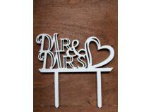 """Fa - """"Mr & Mrs"""" tortadísz szíves fehér 11,5cm"""