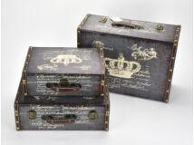 Bőrönd szett koronás kék 3db/szett