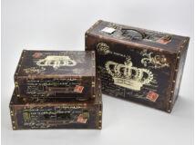 Bőrönd szett koronás barna 3db/szett