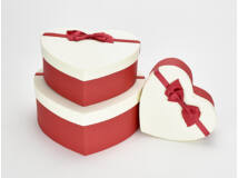 Szív doboz szett krém piros 3db/szett