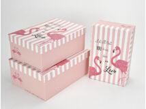 Flamingós tégla doboz szett rózsaszín 3db/szett