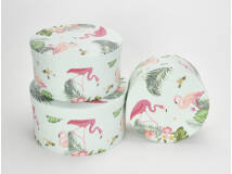 Flamingós kerek doboz szett 3db/szett