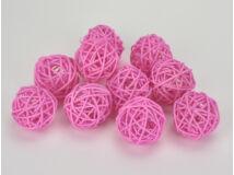 Vessző gömb rózsaszín 4cm 10db/csomag