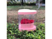 Átlátszó oldalú szív alakú premium virágdoboz - rózsaszín 36/#