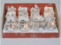 Fehér-ezüst világítós házikó kicsi 12db - OKOS ÁR!