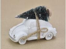 Vintage autó fenyőfával fehér