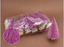 Rózsaszín csillámos fenyők 12db/csomag