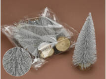 Ezüst csillámos fenyők 20cm 5db/csomag