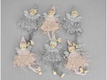 Rózsaszín-szürke rojtos ruhás tündér 6db/csomag
