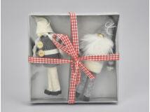 Szürke-fehér kötött ruhás manó pár 2db/doboz
