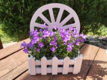 Fali dekor tároló fából, kerék fehér 96/#