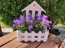 Fali dekor tároló fából, ház fehér 96/#