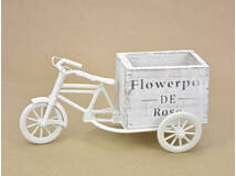 Műanyag tricikli fa kaspóval tégla fehér