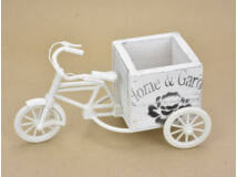 Műanyag tricikli fa kaspóval kocka fehér 150/#