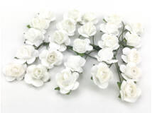 Papír rózsa fehér 1,6cm 25db/csomag