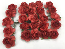 Papír rózsa piros 1,6cm 25db/csomag