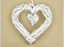 Vessző szív szalaggal 30cm