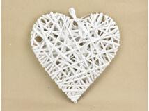 Fehér vessző szív fém vázon 30cm 40/#