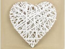 Fehér vessző szív fém vázon 40cm 20/#