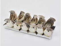 Szürke-barna madár kicsi 12db/doboz