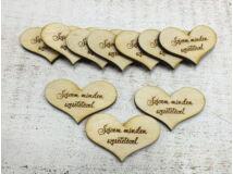 """Natúr fa - """"Szívem minden szeretetével"""" szív 10db/csomag"""