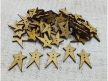 Natúr fa - Country csillag gomb 3cm 30db/csomag