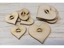 Natúr fa - Felfűzhető szívek vízszintes 10db/csomag