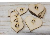 Natúr fa - Felfűzhető szívek függőleges 10db/csomag