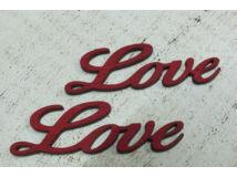 "Fa ""Love"" felirat meggypiros 8cm 2db/csomag"