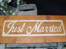 "Natúr fa - ""Just married"" felirat 70cm"