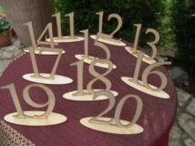 Natúr fa - Asztalszám 11-20-ig 15cm 10db/csomag