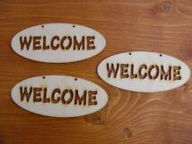 "Natúr fa - ""Welcome"" áttört ovál táblák 6x14cm 3db/csomag"