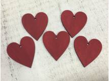 Fa szív meggypiros 5cm 5db/csomag