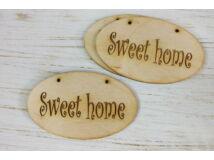 """Natúr fa """"Sweet home"""" ovál táblák 3db/csomag"""