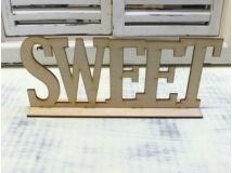 "Natúr fa - ""SWEET"" felirat talppal 25cm"