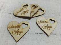 """Natúr fa - """"Szeretlek Anyu""""gravirozott szív 5db/csomag"""