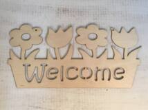 Welcome tábla virágos 50cm