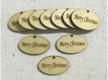 "Natúr fa ""Merry Christmas"" ovál tábla 10db/csomag"