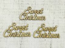 "Natúr fa ""Sweet Christmas"" felirat 3db/csomag"