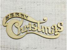 "Natúr fa íves ""Merry Christmas"" felirat 20cm"