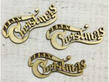 "Natúr fa íves ""Merry Christmas"" felirat 10cm 3db/csomag"