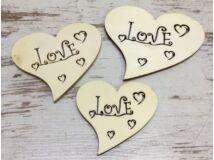 Fa Love szív 3db/csomag
