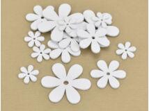 Fa virág különböző méretek fehér 15db/csomag