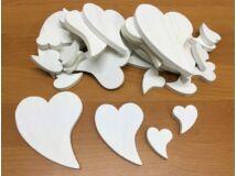Fa francia szív különböző méretek 30db/csomag