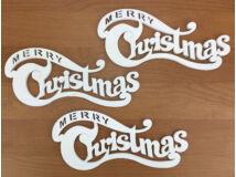 Merry Christmas íves 20cm fehér 3db/csomag